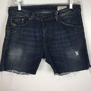 Diesel Cut Off Buttonfly Denim Jean Shorts   33